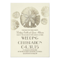 Elegant vintage sand dollars beach wedding invites
