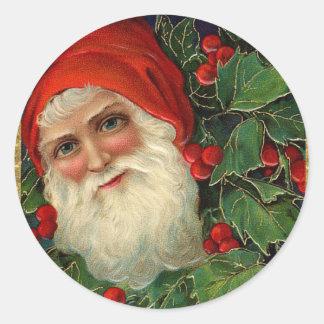Elegant Vintage Santa Claus Art Christmas Cards Classic Round Sticker