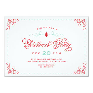 Elegant Vintage Script Christmas Party Card at Zazzle
