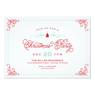 Elegant Vintage Script Christmas Party Card