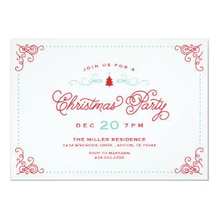 Elegant Vintage Script Christmas Party Card at Zazzle