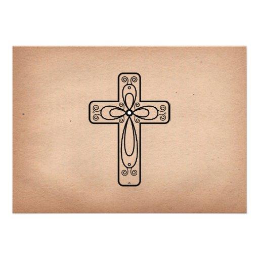 Elegant Vintage Script Cross and Dove Baptism Personalized Invite (back side)