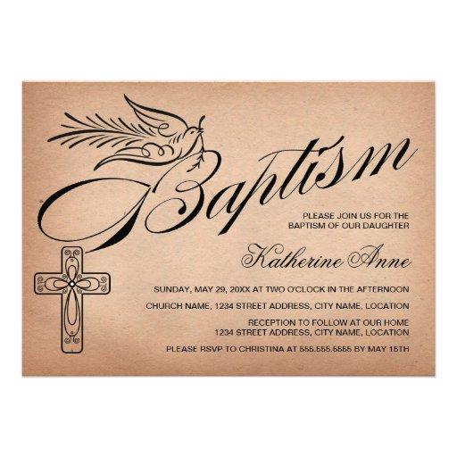 Elegant Vintage Script Cross and Dove Baptism Personalized Invite