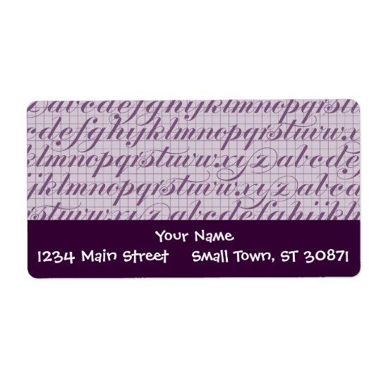 Elegant Vintage Script Typography Lettering Purple Label