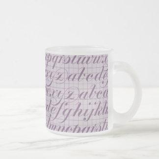 Elegant Vintage Script Typography Lettering Purple Coffee Mugs