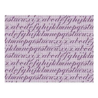Elegant Vintage Script Typography Lettering Purple Post Cards