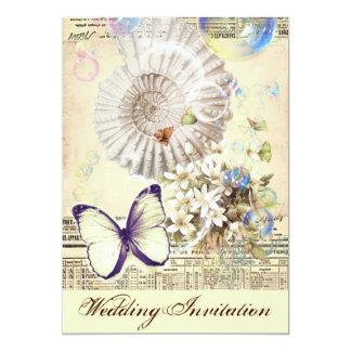 "Elegant Vintage seashell butterfly wedding 5"" X 7"" Invitation Card"