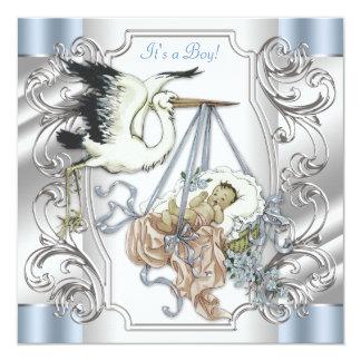 Elegant Vintage Silver and Blue Stork Baby Boy Card