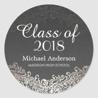 Elegant Vintage Silver Damask Class of Graduation Classic Round Sticker