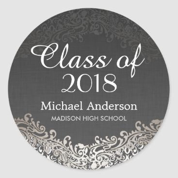 Beach Themed Elegant Vintage Silver Damask Class of Graduation Classic Round Sticker