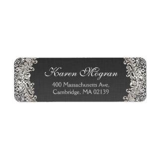 Elegant Vintage Silver Damask Dark Linen Look Label
