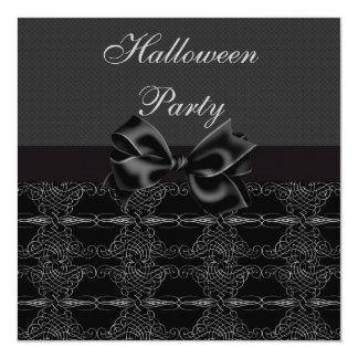 Elegant Vintage Silver Filigree Halloween Party Card