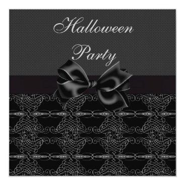 Halloween Themed Elegant Vintage Silver Filigree Halloween Party Card