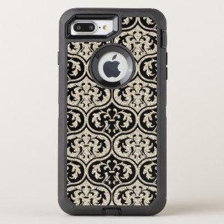 Elegant Vintage Silver Glitter Damask OtterBox Defender iPhone 7 Plus Case