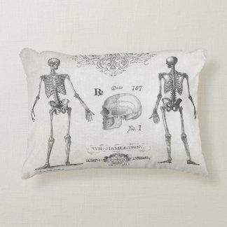 Elegant vintage skeleton skull halloween pillow. decorative pillow