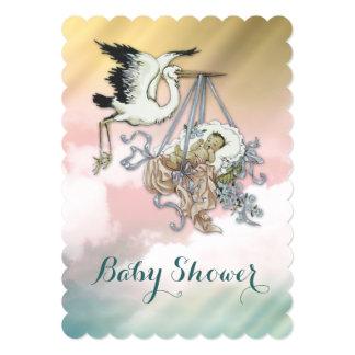 Elegant Vintage Stork Baby Shower 5x7 Paper Invitation Card