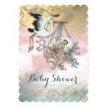 Elegant Vintage Stork Baby Shower Card