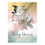 Elegant Vintage Stork Baby Shower Personalized Announcement