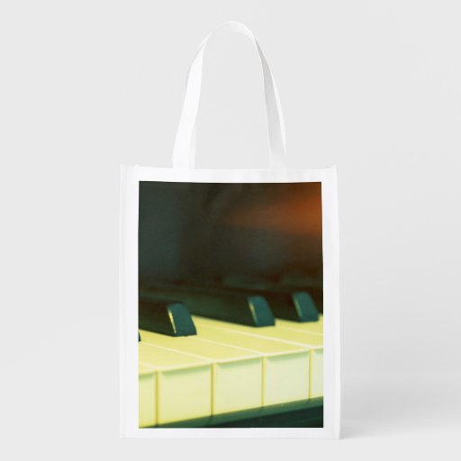 Elegant Vintage Style Grand Piano Keys Photograph Grocery Bags