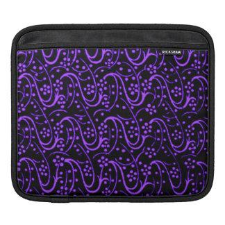 Elegant Vintage Swirls Floral Purple Black Sleeve