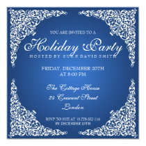 Elegant Vintage Swirls Holiday Party Blue Invitation