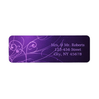elegant vintage swirls purple wedding return address labels