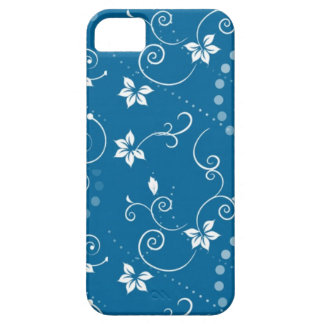 Elegant Vintage Swirly Blue Floral  iPhone Case