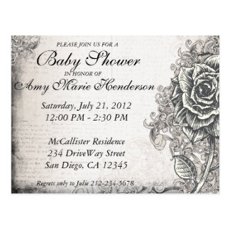 Elegant Vintage Tattoo Rose Baby Shower Postcard