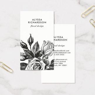 Elegant Vintage Tea Roses   Black and White Business Card