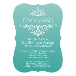Elegant Vintage Teal Flourish Engagement Party 5x7 Paper Invitation Card