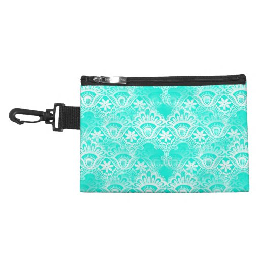 Elegant Vintage Teal Turquoise Lace Damask Pattern Accessories Bag