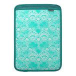 Elegant Vintage Teal Turquoise Lace Damask Pattern MacBook Sleeves