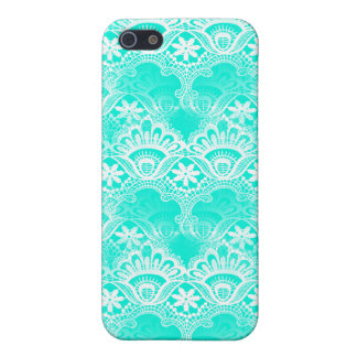 Elegant Vintage Teal Turquoise Lace Damask Pattern iPhone 5 Covers