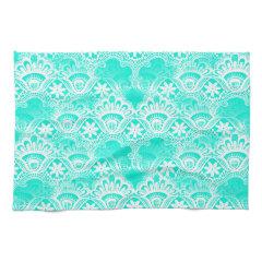 Elegant Vintage Teal Turquoise Lace Damask Pattern Towels