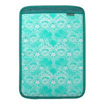 Elegant Vintage Teal Turquoise Lace Damask Pattern MacBook Air Sleeve