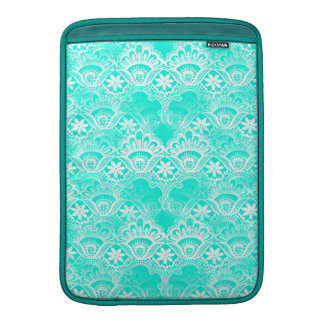 Elegant Vintage Teal Turquoise Lace Damask Pattern MacBook Air Sleeve