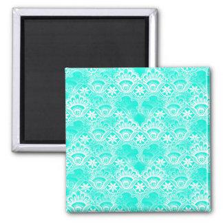 Elegant Vintage Teal Turquoise Lace Damask Pattern Magnet