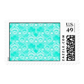 Elegant Vintage Teal Turquoise Lace Damask Pattern Postage