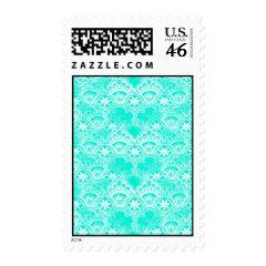 Elegant Vintage Teal Turquoise Lace Damask Pattern Postage Stamps