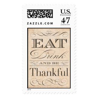 Elegant Vintage Thanksgiving Dinner Invitation Postage