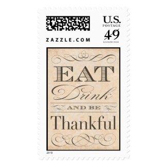 Elegant Vintage Thanksgiving Dinner Invitation Postage Stamp