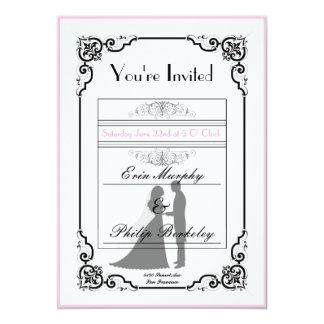 Elegant vintage ticket wedding invitation