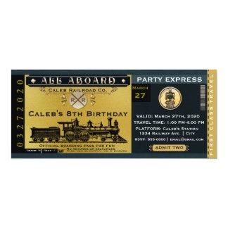 Elegant Vintage Travel Train Ticket Invitation