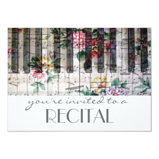 elegant vintage trendy girly music recital 4.5x6.25 paper invitation card