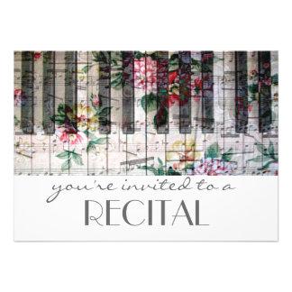 elegant vintage trendy girly music recital custom invites