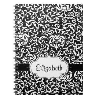 Elegant Vintage Tudor Garden Damask Pattern Spiral Notebook