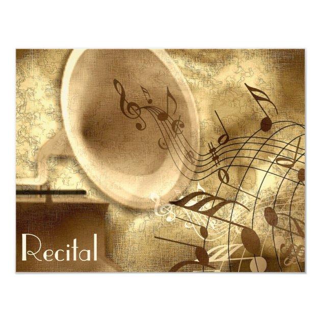 Elegant Vintage Unisex Music Recital Invitations