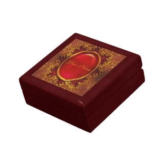 Elegant vintage victorian ruby floral jewelry boxes