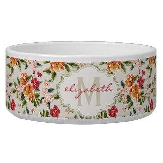 Elegant Vintage Watercolor Flowers Monogrammed Bowl
