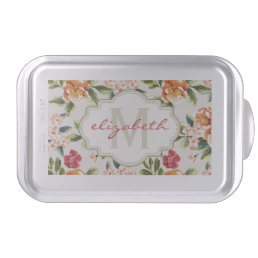 Elegant Vintage Watercolor Flowers Monogrammed Cake Pan